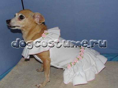 Летнее платье Лилия - белое и розовые розы