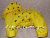 модель Эклера, сезон зима, цвет ткани желтый, украшена пайетками - бабочки